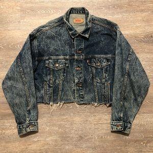 Levi's Acid Wash Cropped Distressed Denim Jacket